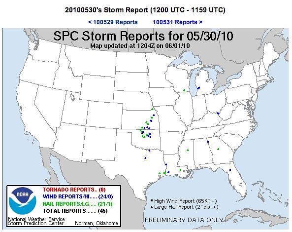 Storm Reports 5-30-10