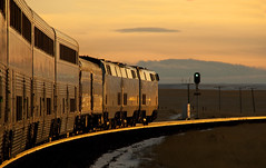 Chasing The Sun (rickpawl) Tags: railroad sunset golden tracks trains amtrak californiazephyr