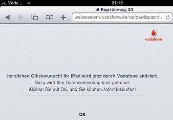 Vodafone Aktivierung Apple iPad 3G