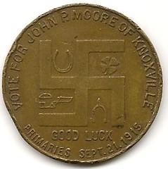 John P. Moore election token (reverse)