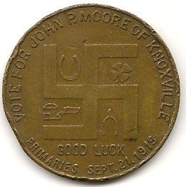 John P. Moore election token (reverse)