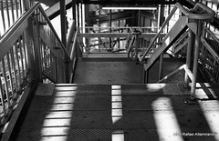 Stairs (Rafakoy) Tags: city light shadow blackandwhite bw sun white ny newyork black film lines station stairs train 35mm subway photography 50mm photo shadows queens negative epson v600 subwaystation woodside canonae1program perfection ae1program trainstaton epsonv600 epsonperfectionv600 kodakprofessionalplusx125 newcanonfd50mmf14 aldorafaelaltamirano rafaelaltamirano aldoraltamirano