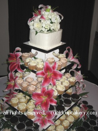 Stargazer Lily Wedding Cupcakes by Cupid Cupcakery