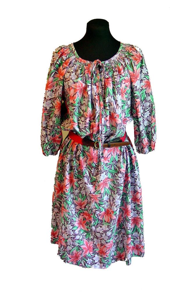 vintage dress housecoat tropical print colorful mumu Size M
