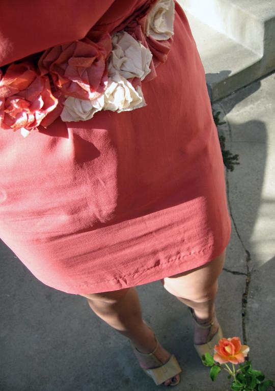leyendecker dress+rose DIY necklace as belt+braids in hair-5