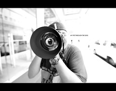 my eye through the lens (frozenjester) Tags: vanjuan orangevessel 85mmf14 lens nikon nikkor d700 fullframe fx 1424f28 composite macau china holiday asian blackwhite frozenjester wideangle portrait photographer funny macao photoshop jesteralcaraz