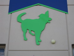 radioactive dog (High Tail Hotel, 2275 Revere Avenue at Industrial Street) (throgers) Tags: sanfrancisco california dog sign ball industrial guesswheresf foundinsf revere greendog gwsf hightailhotel