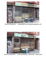 Nick's Luncheonette - Scale model and real structure comparison by Randy Hage (Randy Hage) Tags: nyc sculpture ny newyork art film television brooklyn facade studio miniatures design miniature store artist handmade manhattan models broadway hipster diner mini streetscene marcy hollywood storefront bodega williamsburg weathered aged studios 112 nicks sets props diorama artisan williamsburgbridge dollhouse stopmotion realism specialeffects scalemodel brooklyndiner setdesign dollshouse architecturalmodel photorealism newyorkart moviemagic miniaturas hyperrealism filmandtelevision smallscale randl fauxpaint nyarchitecture puppenhaus miniaturemodel moviemodel roombox newyorkartist miniaturescene 112thscale nycstorefront nicksluncheonette filmmodels filmmodel vanishingnewyork brooklynstorefront miniaturecollector randyhage mindseyeminiatures brooklynluncheonette miniaturan