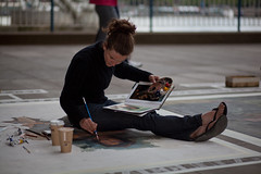 Emma McNally, Southbank (London) Artist (Craig Jewell Photography) Tags: london painting iso100 artist pavement davinci 85mm australia brisbane southbank replica painter f18 uncropped uktrip ef85mmf18usm 11600sec canoneos5dmarkii emmamcnally 20100613023649mg4868cr2