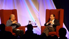 Tom Rogers (r), CEO of TiVo