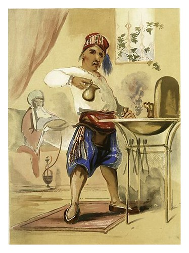 015-Esbozo de un cafe en Constantinopla-Sketches of character and costume in Constantinople 1854- Forbes Mac Bean