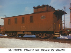 New York Central steam era wooden caboose. Saint Thomas Ontario Canada. January 1970. From the internet.