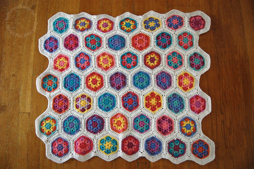 Ashley's flower hexagon blanket