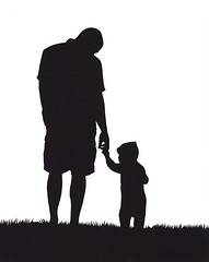 father and son silhouette (jenny lee fowler) Tags: family portrait white black art silhouette paper walking duo pair father fathersday papercut papercutting jennyleefowler