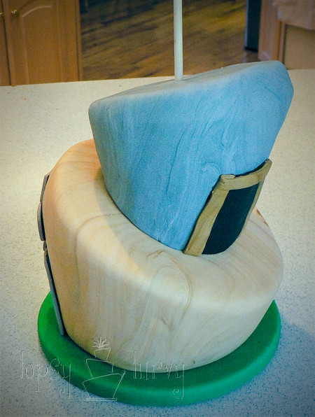 indiana jones birthday cake topsy turvy stacked center dowel