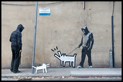 Banksy 'Haring Dog' (Romany WG) Tags: street dog london art hoodie stencil banksy installation 2010 haring takingapiss