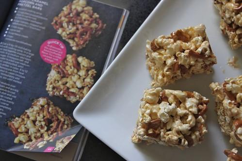 salted caramel pretzel popcorn bars