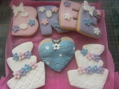 birthday gift box cookies (Kaza's Kookie Kreations) Tags: wedding ladies cookies cake dress heart box name gift letter bodice