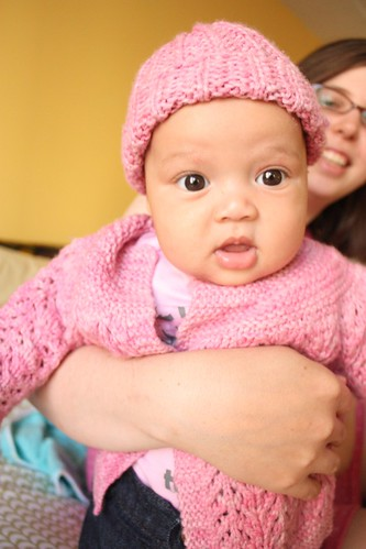 Baby Z in her February Baby Sweater