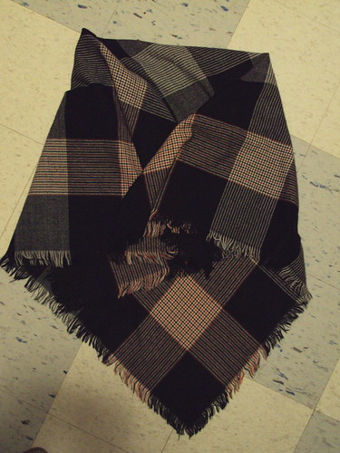Huge Black, White and Orange Scarf/Shawl