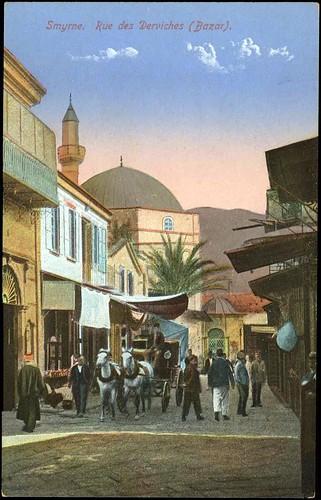Karpostallarda yangından önce İzmir, Kemeraltı, Ali Paşa Çeşmesi