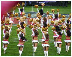 Cheerleaders (chas + jo) Tags: sanfrancisco uk cheerleaders 49ers denver broncos americanfootball wembley 50yardline