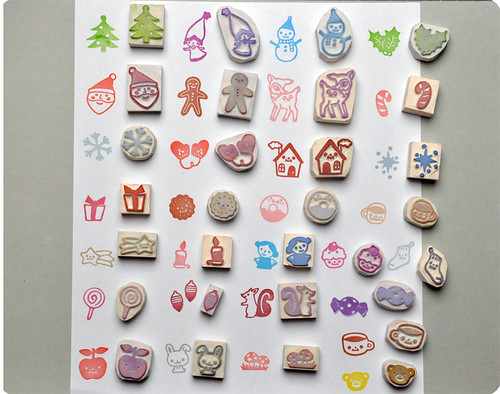 Christmas hand carved rubber stamps