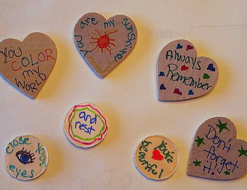 "Back side of my ""Spread the Love"" tokens"