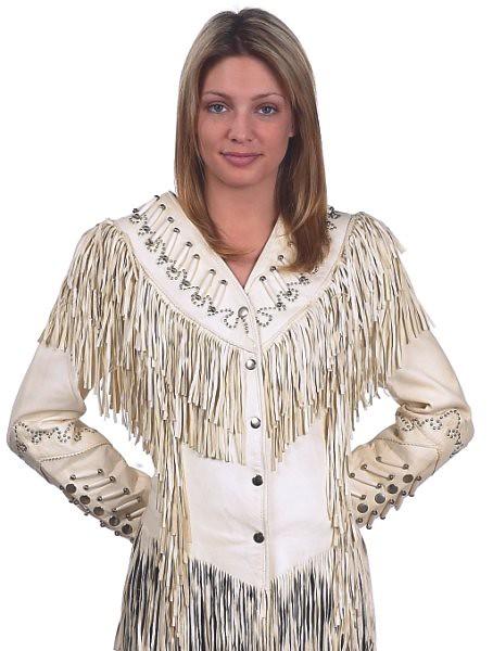 hideous white leather fringe jacket
