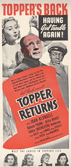 1941 Topper Return's Magazine Ad (captainpandapants) Tags: film smile smiling illustration magazine movie advertising kiss kissing comedy ghost ad bald advertisement tophat quizzical shock ghosts lipstick magazines pleasure silverscreen pleased chauffeur puzzlement enamored classicmovie classicfilm