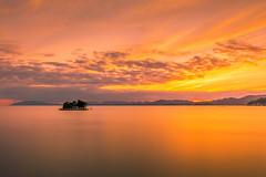 sunset 6142 (junjiaoyama) Tags: japan sunset sky light cloud weather landscape orange contrast colour bright lake island water nature summer yellow