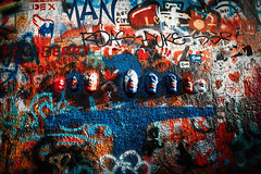 I disappear (ewitsoe) Tags: prague praha czechrepublic europe lennonwall wall art heads writing ewitsoe canon 20mm street city artwork colorful red morning bright shadows light life living travel visit traveling