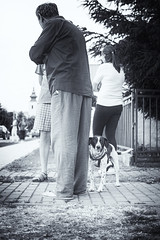 Best friend (MattusB) Tags: best friend dog master man owner black selenium tone nik collenction lightroom sony a6000 sigma 30mm f14 zbehy worried leg close face eyes raw arw mirrorless person slovakia slovensko 2017 jul july creative common licence