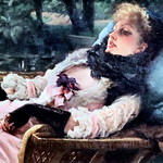 IMG_8964 James Tissot. 1836-1902.   La Rêveuse dit aussi Soirée d'été.  The Dreamer also says Summer Evening. vers 1876.  Paris Orsay. thumbnail