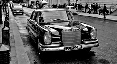1966 Classic Mercedes-Benz 4 Door Saloon. (standhisround) Tags: vehicle car classiccars classic film mercedes mercedesbenz whitehall london uk england blackandwhite bw mono filmproduction location streetscene street 1966 whitehallplace