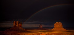 Once Upon a Time in the West (dezzouk) Tags: sunset rainbow monumentvalley theview arizona mittens monsoon storm