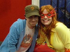 Seth Green and Firestar at Top Cow booth (amber-the-stylist) Tags: comics jones costume women cosplay spiderman xmen superhero marvel comiccon angelica mutants firestar javits nycc amazingfriends misslion mslion