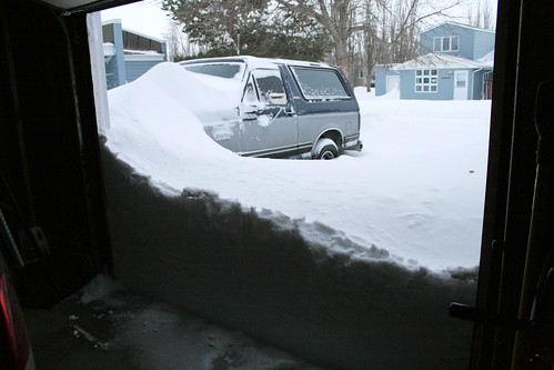 Opening the garage door to begin shoveling...