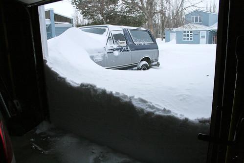 Opening the garage door to begin shoveling...