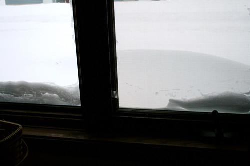 The drifts up to the dining room window