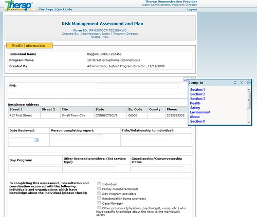 Screenshot of Risk Management Assessment and Plan