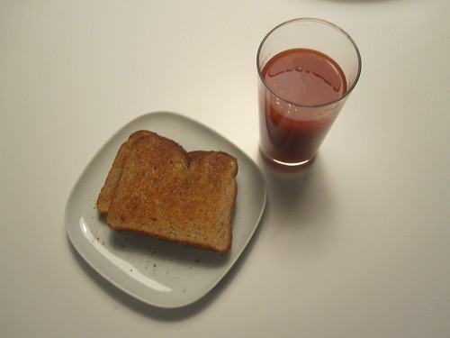 buttered toast and tomato juice