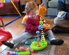 crazy colorful bristle blocks, with baby!