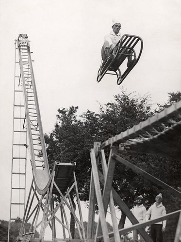 Sleigh leaving ski-jump. Alexandra Palace, London, England, 1933.
