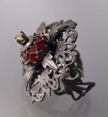 Black widow (Nancy L T Hamilton) Tags: glass victorian jewelry amethyst steampunk filigree peridot sterlingsilver nancyhamilton finejewelry nancylthamilton