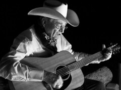 00792-Old Cowboys and Guitars-2-B&W (Jim Vegas Cowboy) Tags: redrockcanyon people blackandwhite usa cowboy lasvegas guitar nevada cowboyhat