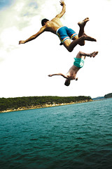 Throw (Xiangk) Tags: ocean sea party vacation sky holiday beach water swimming swim fun boat flying jumping sailing action yacht sydney diving falling sydneyharbour watsonsbay rosebay
