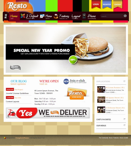 Resto Plazza   Restaurant Website with Joomla
