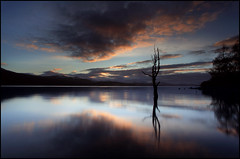 Winter Sunset Loch Rannoch (angus clyne) Tags: road blue sunset red summer cloud sun west tree night clouds canon dead one scotland spring highlands long exposure angus dusk path ripple north perthshire deep wave calm glen hour lone loch moor later alder gloaming lochrannoch clyne flikcr schiehallion vob leefilters colorphotoaward impressedbeauty 5dmarkii