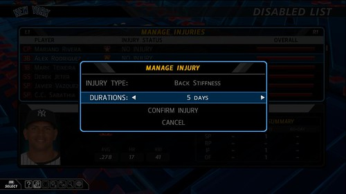 MLB 10: The Show Manage Injuries